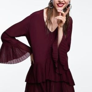 Zara Pleated Burgundy V Neck Blouse Size XL